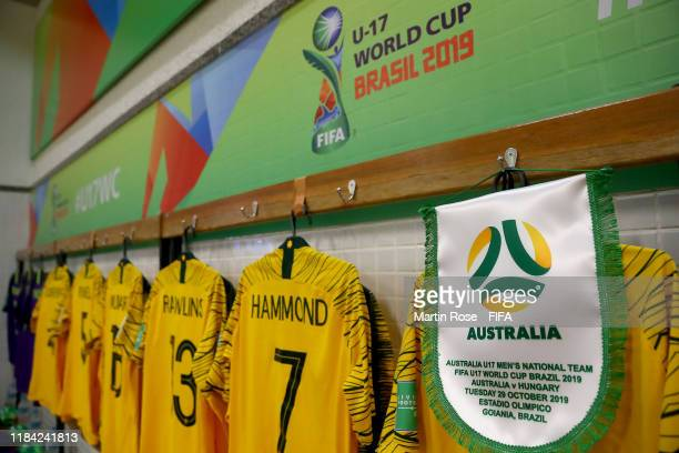 A general view of Australia's locker room before the FIFA U17 World Cup Brazil 2019 Group B match between Australia and Hungary at Estadio Olimpico...