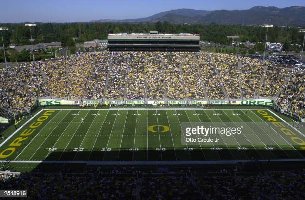 General view of Autzen Stadium during the game between the University of Michigan Wolverines and the University Oregon Ducks on September 20 2003 in...