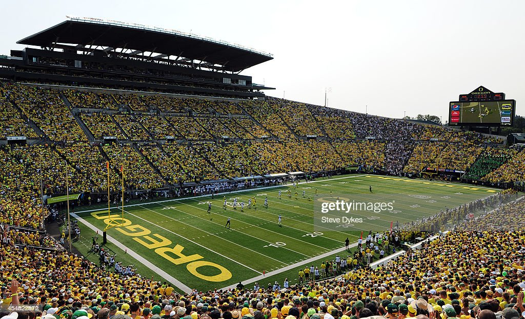 A general view of Autzen Stadium during the second quarter of the game between the Oregon Ducks and the Michigan State Spartans at Autzen Stadium on September 6, 2014 in Eugene, Oregon.