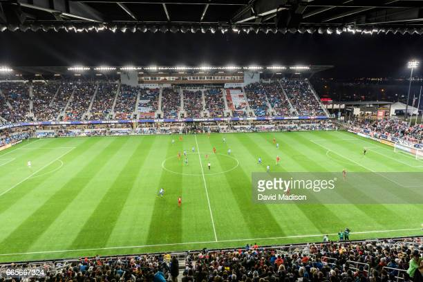 A general view of Avaya Stadium as the United States Men's National Team plays Honduras in a FIFA 2018 World Cup Qualifier match on March 24 2017 at...