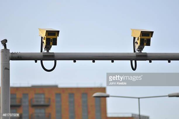 A general view of average speed cameras on the A13 at Canning Town flyover on January 18 2015 in London England