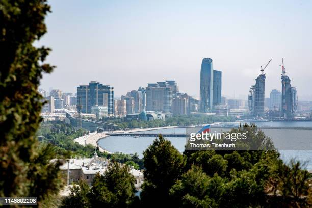 General view of Azerbaijan's Capital Baku from the top of the Nagorny Park on May 13, 2019 in Baku, Azerbaijan.