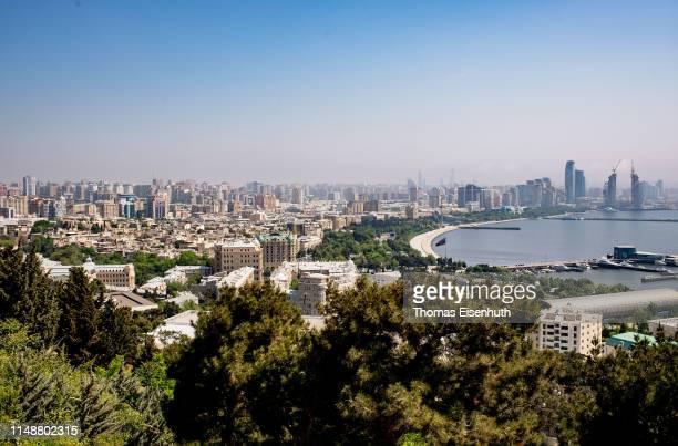 A general view of Azerbaijan's Capital Baku from the top of the Nagorny Park on May 13 2019 in Baku Azerbaijan