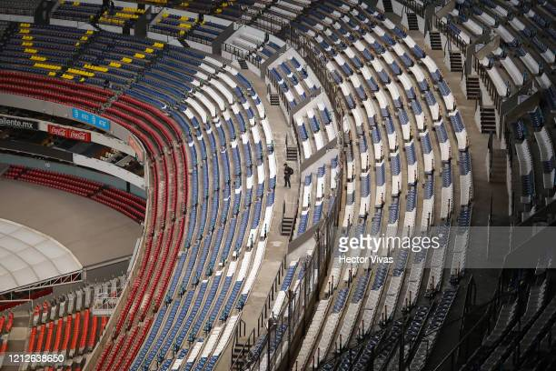 General view of Azteca stadium looking empty of fans during the 10th round match between America and Cruz Azul as part of the Torneo Clausura 2020...