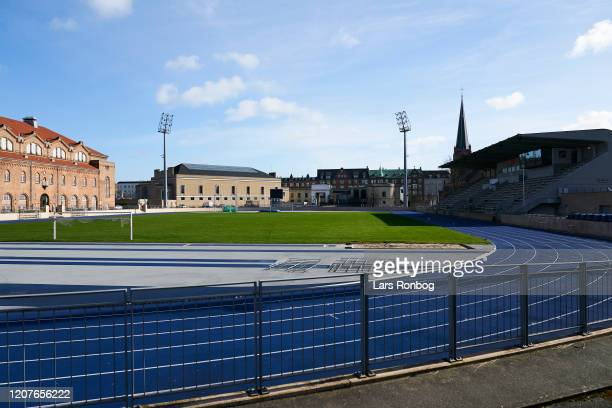 General view of B93 home ground Osterbro Stadion closed for sports due to the Coronavirus infection sanctions on March 19 2020 in Copenhagen Denmark