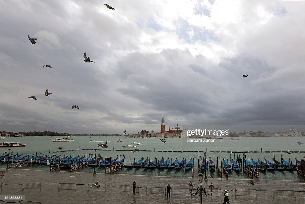 General view of Bacino San Marco during a high tide on the day of the Venice Marathon on October 28, 2012 in Venice, Italy. The high tide or acqua alta stood at 123 centimeters this morning.
