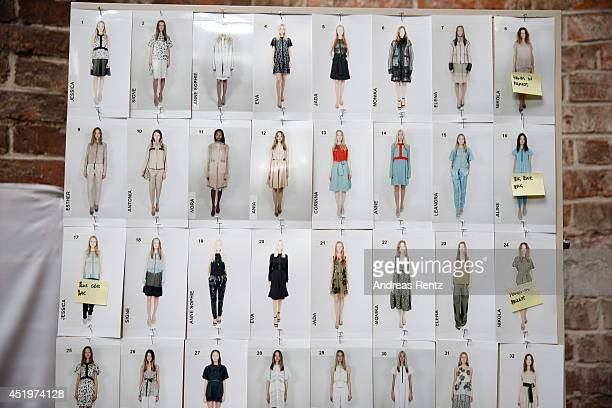 A general view of backstage ahead of the Schumacher show during the MercedesBenz Fashion Week Spring/Summer 2015 at Sankt Elisabeth Kirche on July 10...