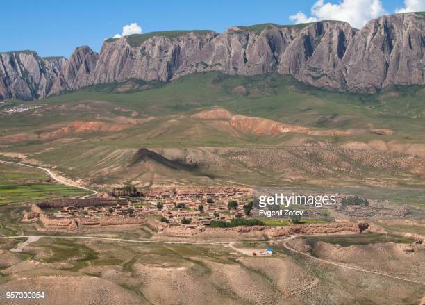general view of baijiao village near xiahe town. gansu, china - gansu province stock pictures, royalty-free photos & images