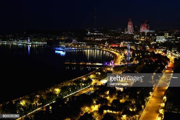 A general view of Baku at night during previews ahead of the European Formula One Grand Prix at Baku City Circuit on June 22 2017 in Baku Azerbaijan...