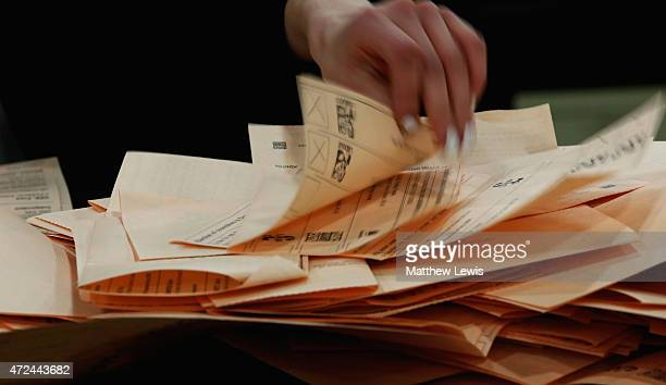 A general view of ballot sheets being sorted during the 2015 general election at Doncaster Racecourse on May 7 2015 in Doncaster England The United...