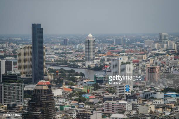 A general view of Bangkok city showing the Chao Phraya River flowing through the middle of Bangkok on August 18 2020 in Bangkok Thailand