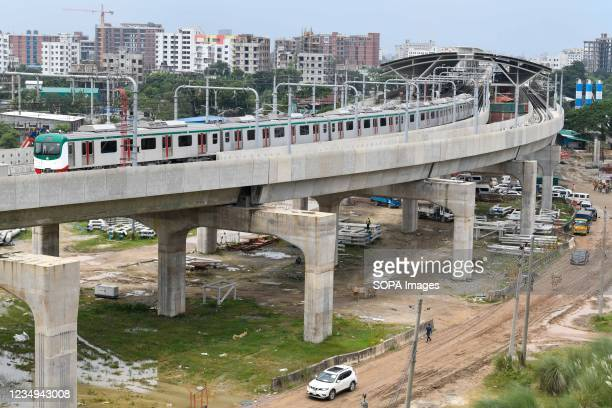 General view of Bangladesh's first-ever metro rail train during its first formal trial run in Dhaka. A test run of Dhaka Metro Rail started on Sunday...