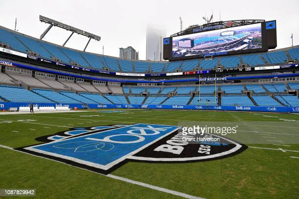 General view of Bank of America Stadium during the Belk Bowl between the South Carolina Gamecocks and the Virginia Cavaliers on December 29 2018 in...