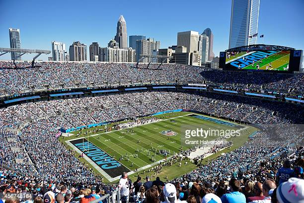 General view of Bank of America Stadium during the game between the Carolina Panthers and the Chicago Bears on October 5 2014 in Charlotte North...