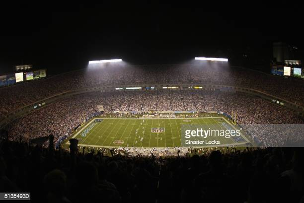 A general view of Bank of America Stadium during the Monday Night Football game between the Carolina Panthers and the Green Bay Packers on September...