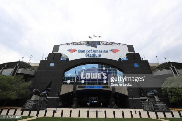 A general view of Bank of America Stadium home of the Carolina Panthers empty during the coronavirus pandemic on April 07 2020 in Charlotte North...