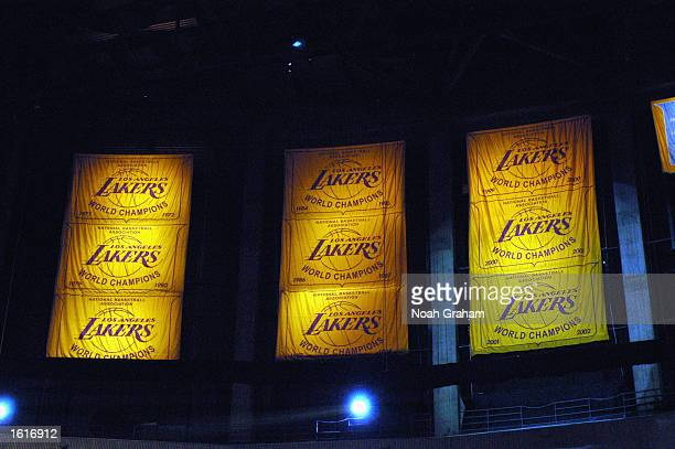 General view of banners honoring the Los Angeles Lakers victories in the NBA Finals during the game against the San Antonio Spurs at Staples Center...