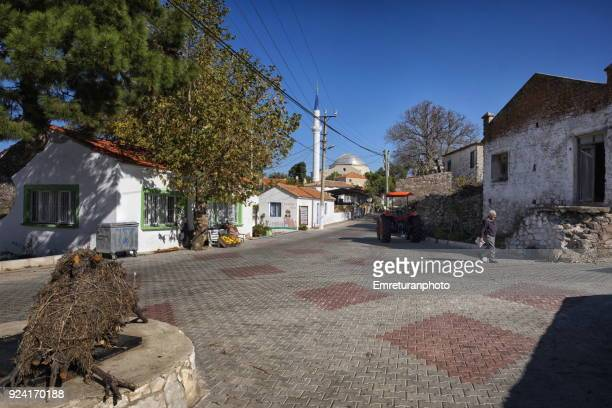 general view of barbaros village center,izmir province. - emreturanphoto stock pictures, royalty-free photos & images