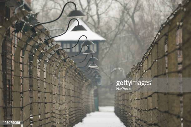 General view of barbed wire fences, towers and barriers inside Auschwitz I German Nazi concentration and extermination camp . Due to the coronavirus...