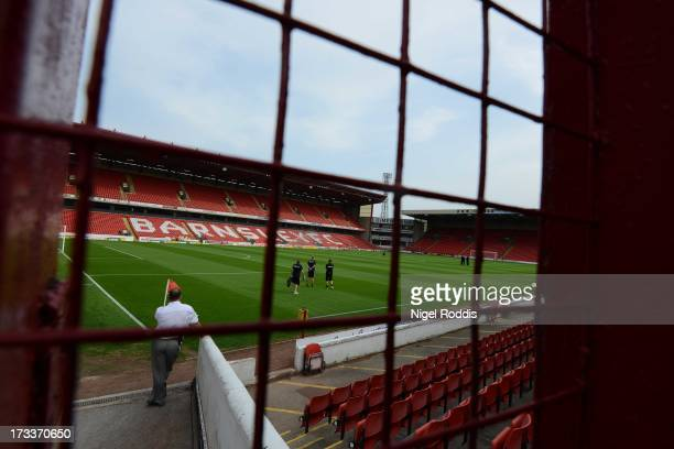 A general view of Barnsley's Oakwell Stadium on July 12 2013 in Barnsley England