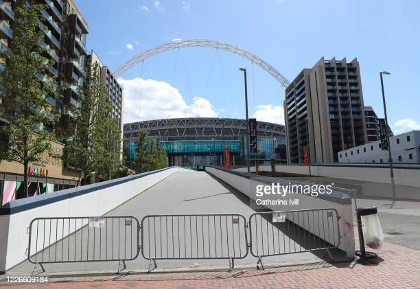 General view of barriers outside Wembley Stadium on what should have been FA Cup Final day on May 23 2020 in London England The British government...