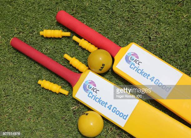 A general view of bats ans balls as Zimbabwe players coach local school children during a 'Cricket for Good' session at Queens Sports Club on March 5...