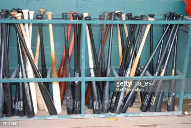 General view of bats lined up in the bat rack during the game between the Detroit Tigers and the Philadelphia Phillies at Joker Marchant Stadium in...