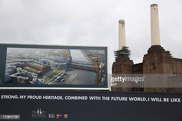 A general view of Battersea Power Station with a plan showing future development in central London on July 4 2013 Battersea Power Station which was...