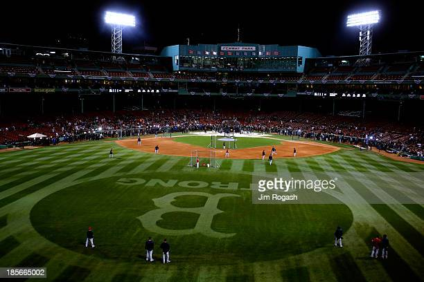A general view of batting practice before Game One of the World Series between the Boston Red Sox and the St Louis Cardinals at Fenway Park on...