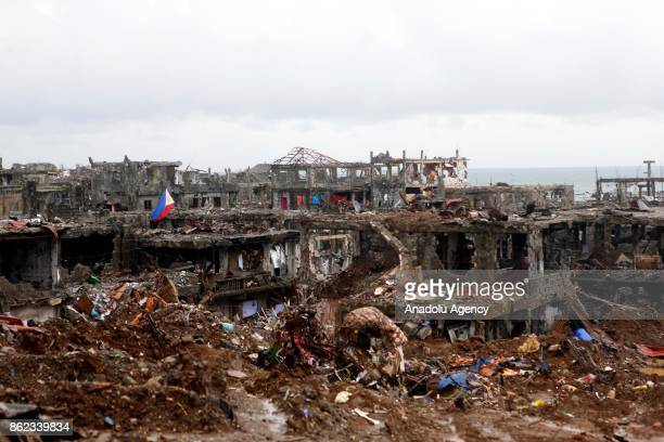 A general view of battle damaged Marawi City in the Southern Philippines on October 17 2017 President Rodrigo Duterte on Tuesday declared the...
