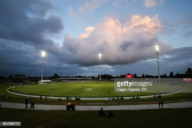A general view of Bay Oval during the ICC U19 Cricket World Cup match between New Zealand and the West Indies at Bay Oval on January 13 2018 in...