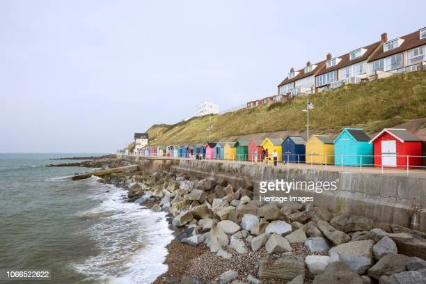 General view of beach huts on East Promenade, from the west. Artist Patricia Payne.