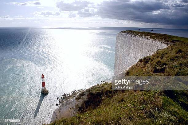A General View Of Beachy Head Lighthouse Near Eastbourne East Sussex