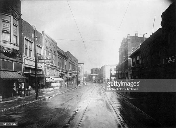 General view of Beale Street circa 1935 in Memphis Tennessee.