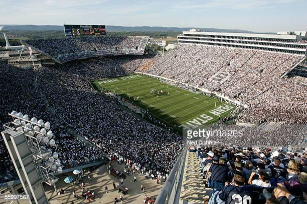 A general view of Beaver Stadium of The Penn State Nittany Lions during a game against the Minnesota Gophers on October 1 2005 at Beaver Stadium in...