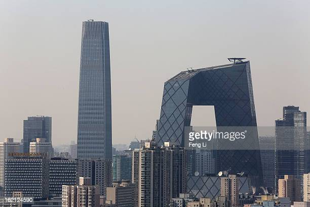 General view of Beijing's tallest skyscraper China World Trade Center Tower III and China Central Television Headquarters at central business...