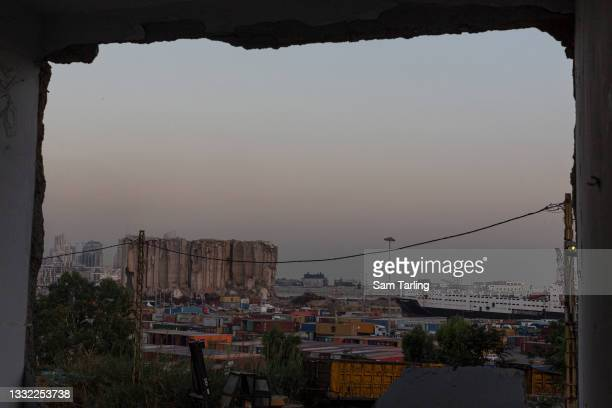 General view of Beirut Port, on August 4, 2021 in Beirut, Lebanon. Whilst investigations for accountability continue, Lebanese commemorate the 218...
