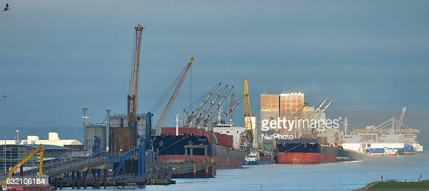 General view of Belfast commercial harbour. On Tuesday, 17 January 2017, in Belfast, Northern Ireland, United Kingdom. Photo by Artur Widak