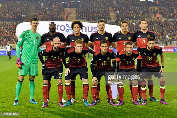 General view of Belgian National football team posing for a photo before the World Cup Qualifier Group H match between Belgium and Estonia at the...