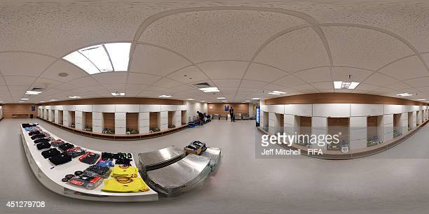 General view of Belgium dressing room before the 2014 FIFA World Cup Brazil Group H match between Korea Republic v Belgium at Arena de Sao Paulo on...