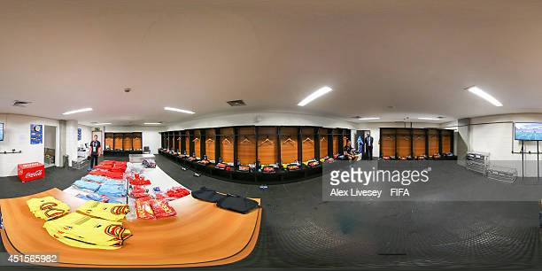 A general view of Belgium dressing room before the 2014 FIFA World Cup Brazil Round of 16 match between Belgium v USA at Arena Fonte Nova on July 1...