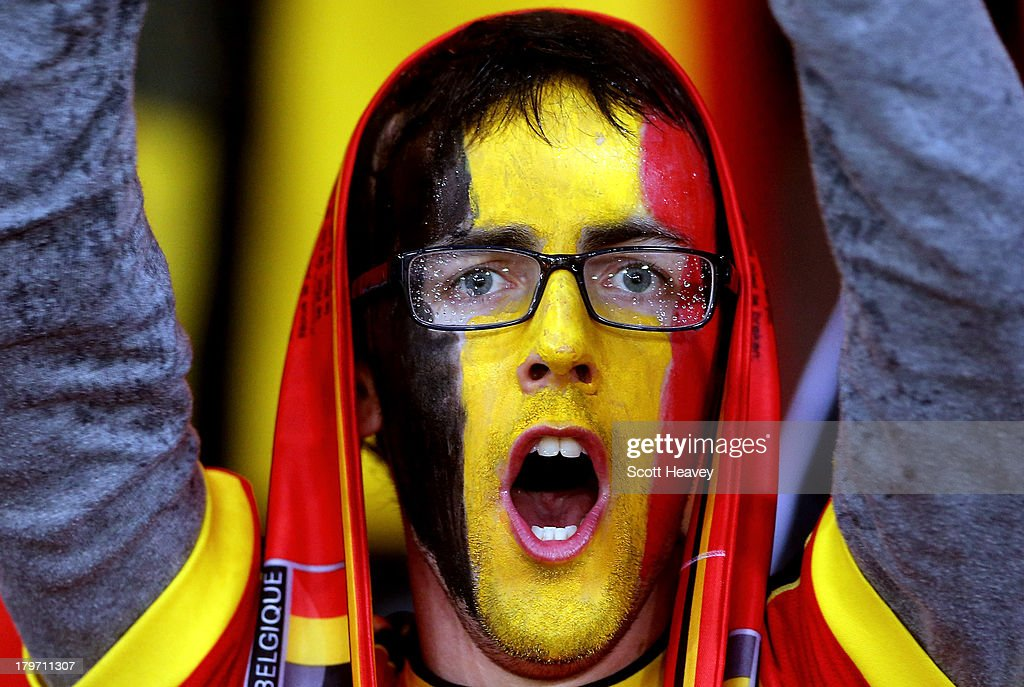 A general view of Belgium fans prior to the FIFA 2014 World Cup Qualifying Group A match between Scotland and Belgium at Hampden Park on September 6, 2013 in Glasgow, Scotland.