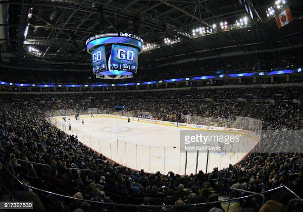 A general view of Bell MTS Center during a NHL game between the Winnipeg Jets and New York Rangers on February 11 2018 at Bell MTS Centre in Winnipeg...