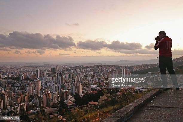A general view of Belo Horizonte as the sun rises on June 11 2014 in Belo Horizonte Brazil