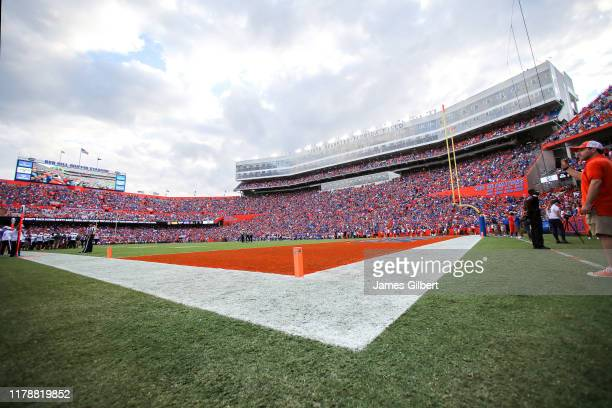 General View of Ben Hill Griffin Stadium during the fourth quarter of the Towson Tigers Versus the Florida Gators game on September 28 2019 in...
