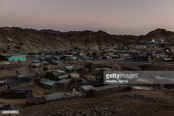 A general view of Berhile village is seen at the Danakil Depression located 100 meters below sea level near Eritrea border in Afar Ethiopia on...