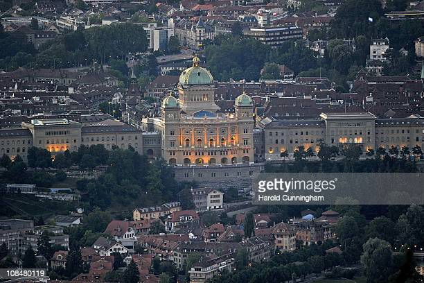 A general view of Bern and the Federal Palace of Switzerland is seen on July 18 2010 in Bern Switzerland