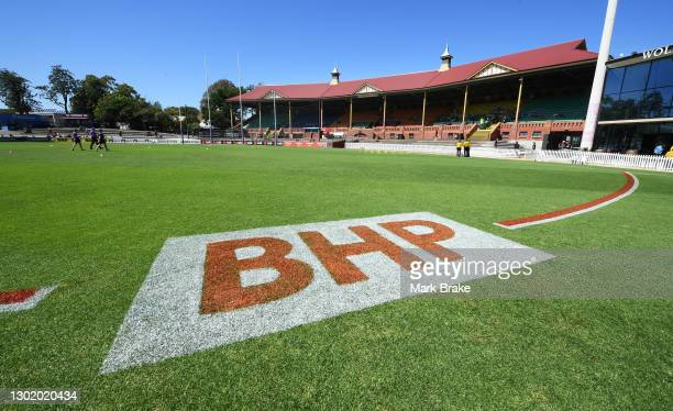 General view of BHP signage fromt the 50 metre line during the round three AFLW match between the Adelaide Crows and the Fremantle Dockers at Norwood...
