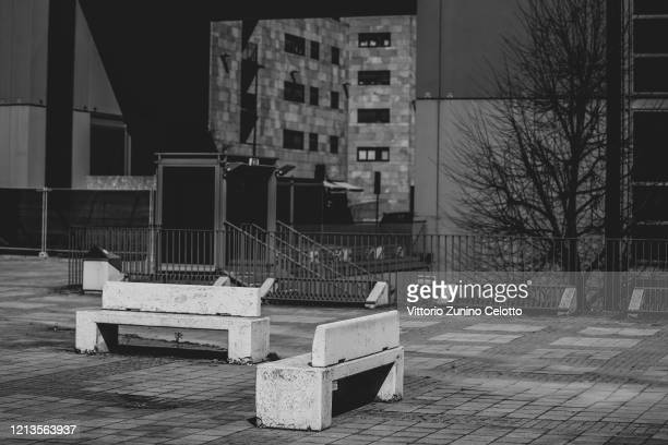 A general view of Bicocca District on March 19 2020 in Milan Italy Spring blooms in the suburbs as the Italian government continues to enforce the...