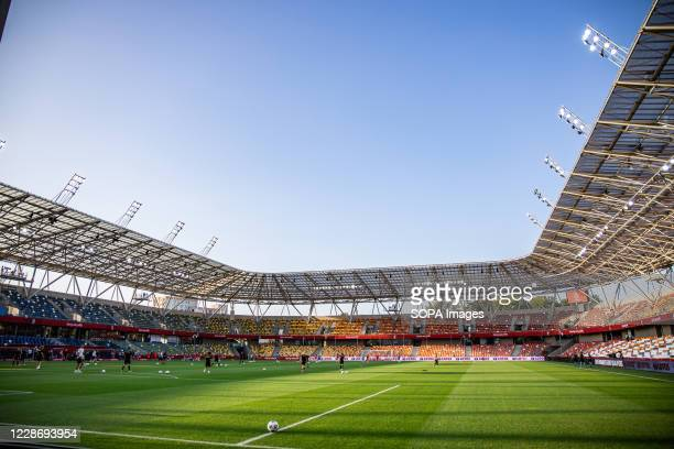 A general view of BielskoBiala City Stadium at day the UEFA Women's EURO 2021 qualifying match between Poland and Czech Republic
